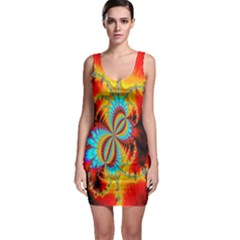 Crazy Mandelbrot Fractal Red Yellow Turquoise Sleeveless Bodycon Dress