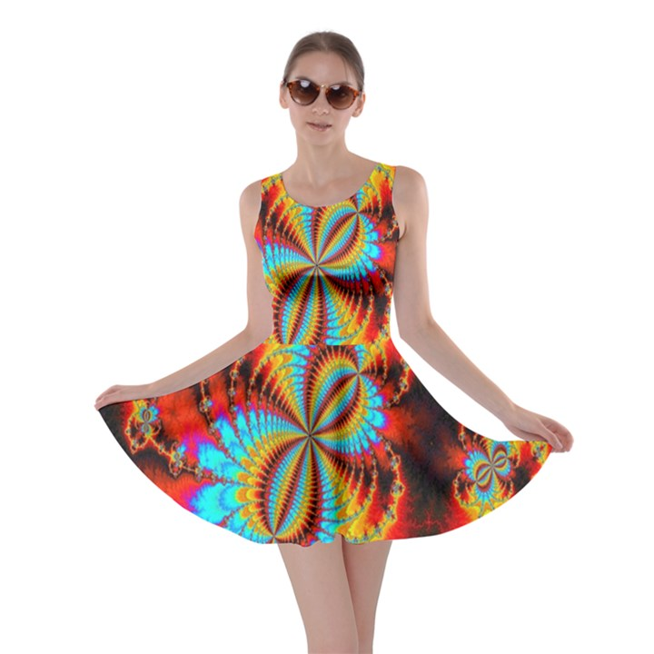 Crazy Mandelbrot Fractal Red Yellow Turquoise Skater Dress