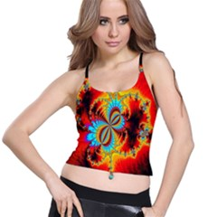 Crazy Mandelbrot Fractal Red Yellow Turquoise Spaghetti Strap Bra Top