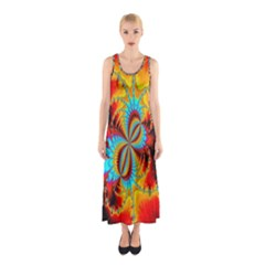 Crazy Mandelbrot Fractal Red Yellow Turquoise Sleeveless Maxi Dress