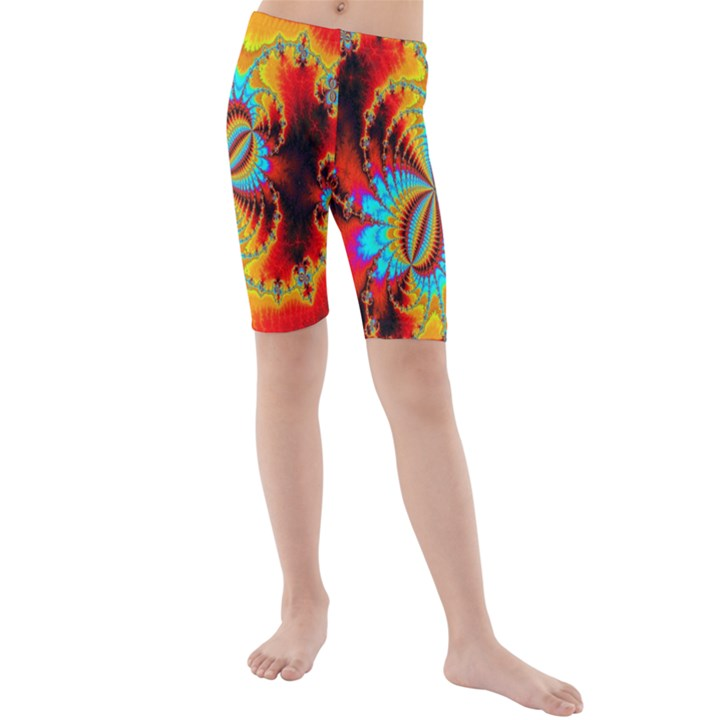 Crazy Mandelbrot Fractal Red Yellow Turquoise Kids  Mid Length Swim Shorts