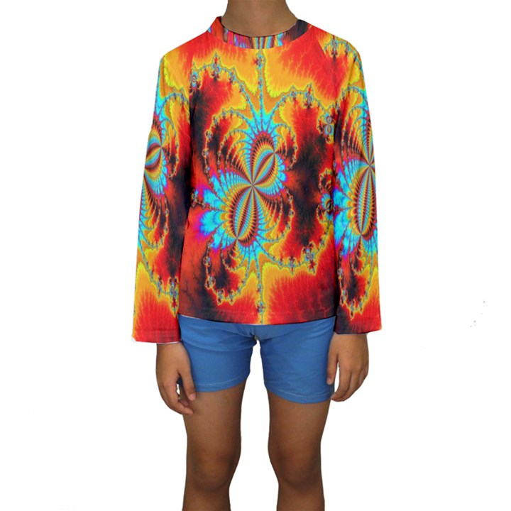 Crazy Mandelbrot Fractal Red Yellow Turquoise Kids  Long Sleeve Swimwear