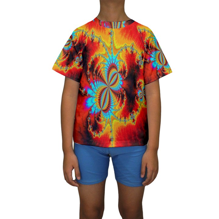 Crazy Mandelbrot Fractal Red Yellow Turquoise Kids  Short Sleeve Swimwear