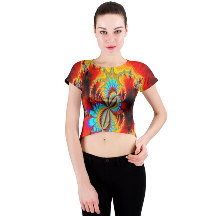 Crazy Mandelbrot Fractal Red Yellow Turquoise Crew Neck Crop Top