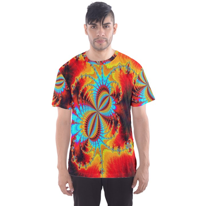 Crazy Mandelbrot Fractal Red Yellow Turquoise Men s Sport Mesh Tee