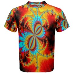 Crazy Mandelbrot Fractal Red Yellow Turquoise Men s Cotton Tee