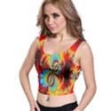 Crazy Mandelbrot Fractal Red Yellow Turquoise Crop Top View1