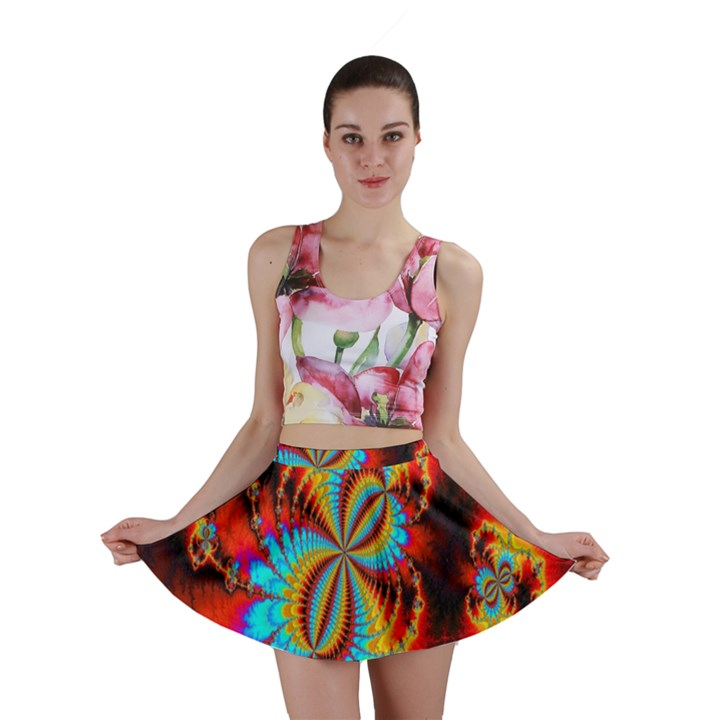 Crazy Mandelbrot Fractal Red Yellow Turquoise Mini Skirt