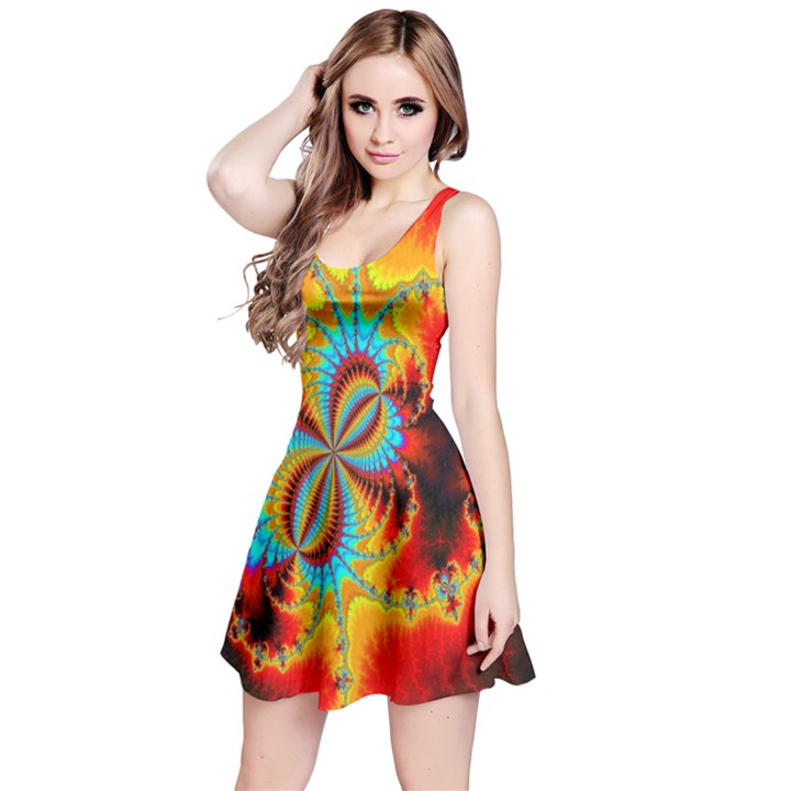 Crazy Mandelbrot Fractal Red Yellow Turquoise Reversible Sleeveless Dress