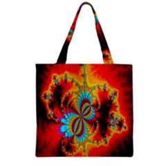 Crazy Mandelbrot Fractal Red Yellow Turquoise Grocery Tote Bag