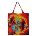 Crazy Mandelbrot Fractal Red Yellow Turquoise Grocery Tote Bag View1