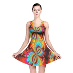 Crazy Mandelbrot Fractal Red Yellow Turquoise Reversible Skater Dress