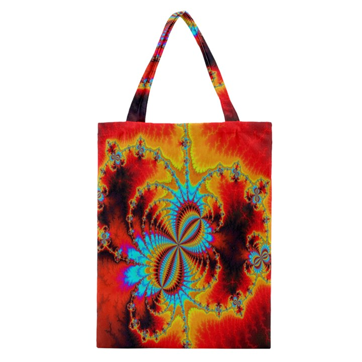 Crazy Mandelbrot Fractal Red Yellow Turquoise Classic Tote Bag