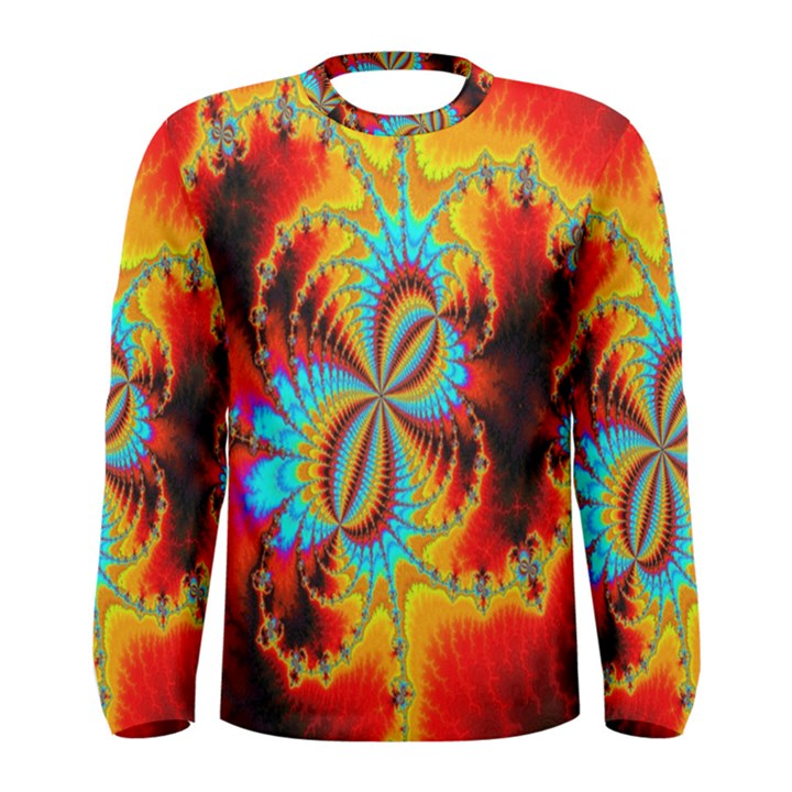 Crazy Mandelbrot Fractal Red Yellow Turquoise Men s Long Sleeve Tee