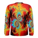 Crazy Mandelbrot Fractal Red Yellow Turquoise Men s Long Sleeve Tee View2