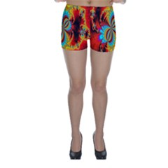 Crazy Mandelbrot Fractal Red Yellow Turquoise Skinny Shorts