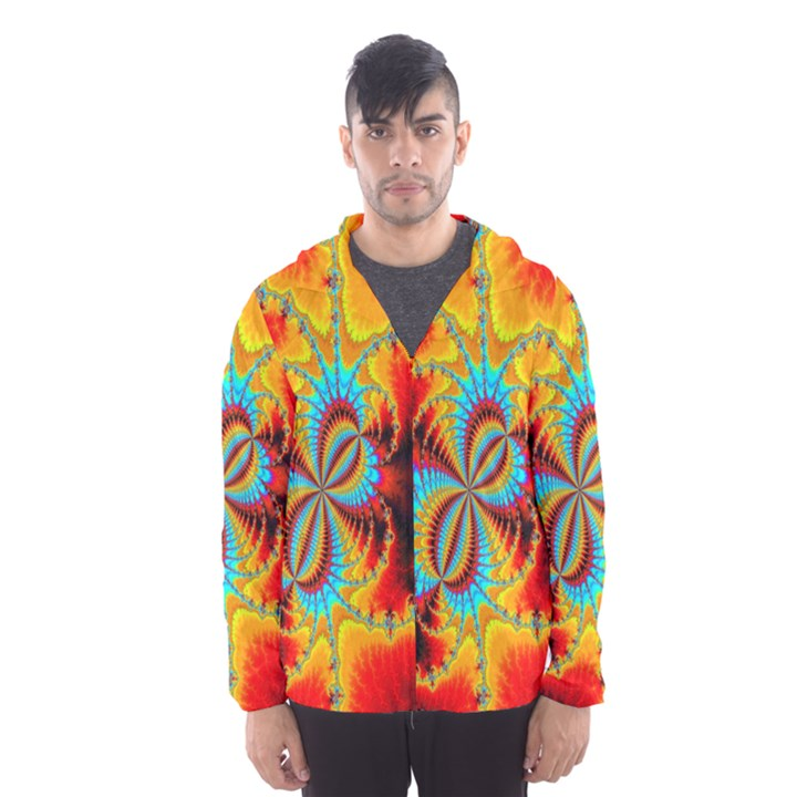 Crazy Mandelbrot Fractal Red Yellow Turquoise Hooded Wind Breaker (Men)