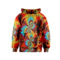 Crazy Mandelbrot Fractal Red Yellow Turquoise Kids  Pullover Hoodie View1