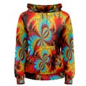 Crazy Mandelbrot Fractal Red Yellow Turquoise Women s Pullover Hoodie View1