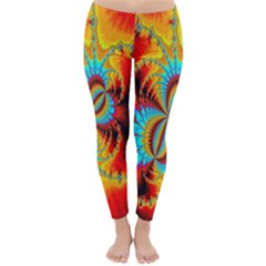 Crazy Mandelbrot Fractal Red Yellow Turquoise Winter Leggings