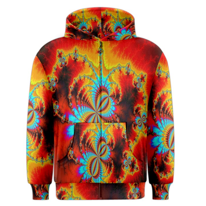 Crazy Mandelbrot Fractal Red Yellow Turquoise Men s Zipper Hoodie