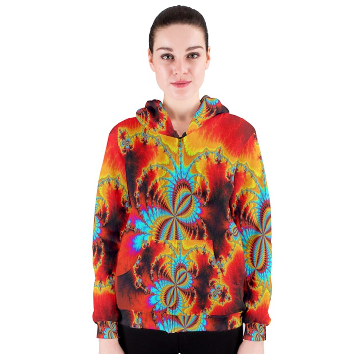 Crazy Mandelbrot Fractal Red Yellow Turquoise Women s Zipper Hoodie