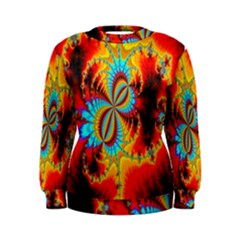 Crazy Mandelbrot Fractal Red Yellow Turquoise Women s Sweatshirt