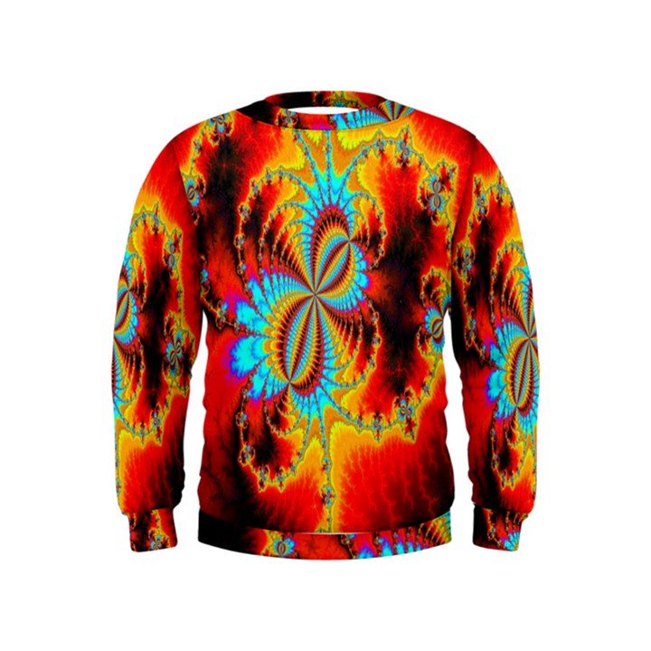 Crazy Mandelbrot Fractal Red Yellow Turquoise Kids  Sweatshirt