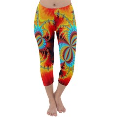 Crazy Mandelbrot Fractal Red Yellow Turquoise Capri Winter Leggings