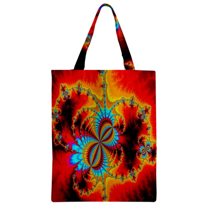 Crazy Mandelbrot Fractal Red Yellow Turquoise Zipper Classic Tote Bag