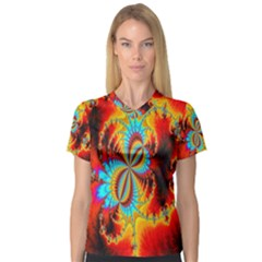 Crazy Mandelbrot Fractal Red Yellow Turquoise Women s V Neck Sport Mesh Tee