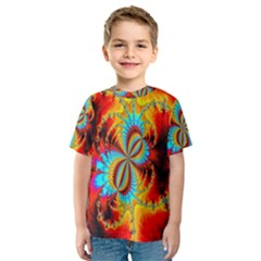 Crazy Mandelbrot Fractal Red Yellow Turquoise Kids  Sport Mesh Tee