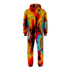 Crazy Mandelbrot Fractal Red Yellow Turquoise Hooded Jumpsuit (Kids)