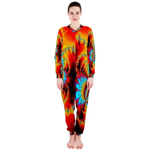 Crazy Mandelbrot Fractal Red Yellow Turquoise OnePiece Jumpsuit (Ladies)