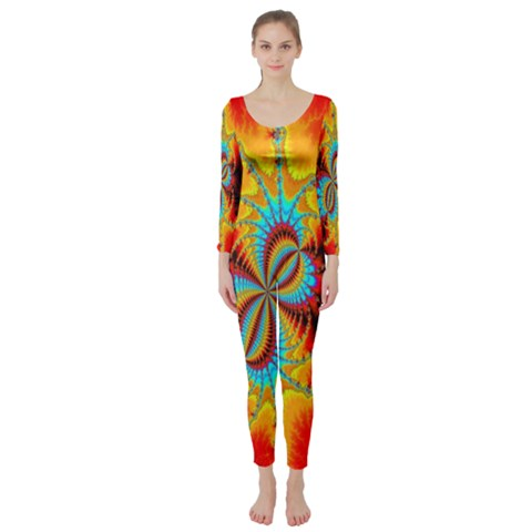Crazy Mandelbrot Fractal Red Yellow Turquoise Long Sleeve Catsuit