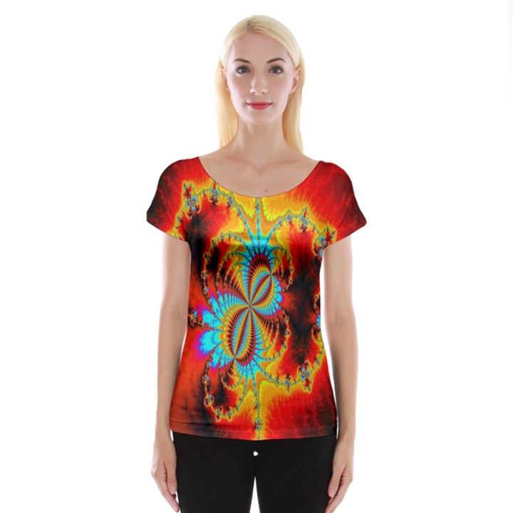 Crazy Mandelbrot Fractal Red Yellow Turquoise Women s Cap Sleeve Top