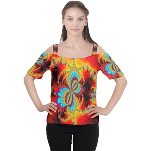 Crazy Mandelbrot Fractal Red Yellow Turquoise Women s Cutout Shoulder Tee