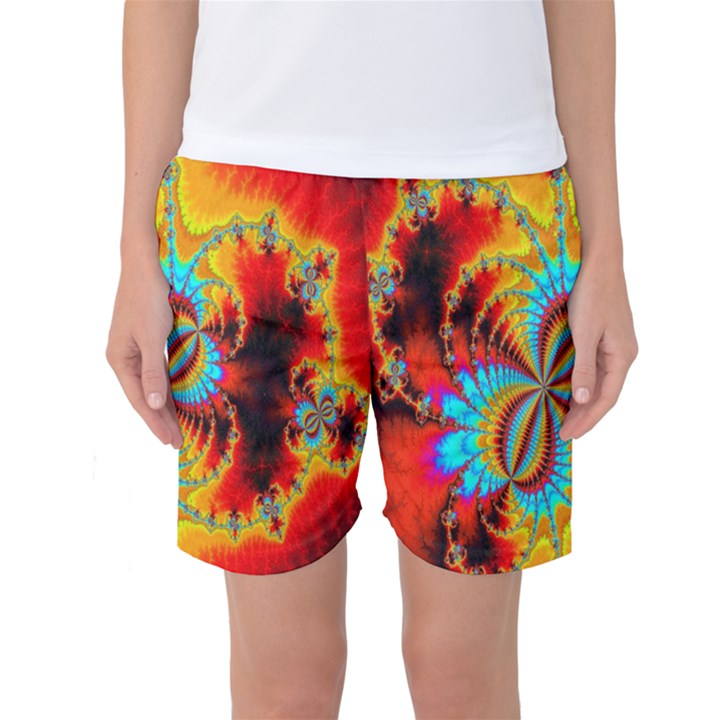 Crazy Mandelbrot Fractal Red Yellow Turquoise Women s Basketball Shorts