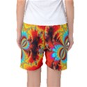 Crazy Mandelbrot Fractal Red Yellow Turquoise Women s Basketball Shorts View2
