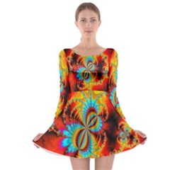 Crazy Mandelbrot Fractal Red Yellow Turquoise Long Sleeve Skater Dress