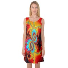 Crazy Mandelbrot Fractal Red Yellow Turquoise Sleeveless Satin Nightdress