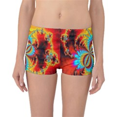 Crazy Mandelbrot Fractal Red Yellow Turquoise Boyleg Bikini Bottoms