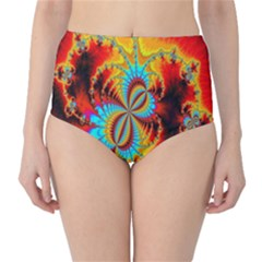 Crazy Mandelbrot Fractal Red Yellow Turquoise High-Waist Bikini Bottoms