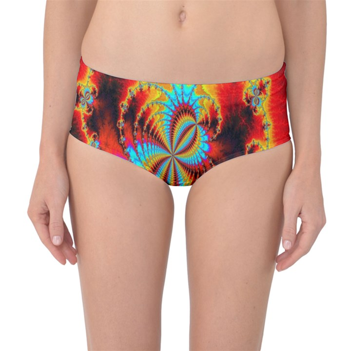 Crazy Mandelbrot Fractal Red Yellow Turquoise Mid-Waist Bikini Bottoms