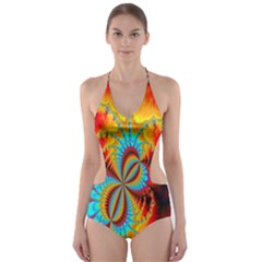 Crazy Mandelbrot Fractal Red Yellow Turquoise Cut-Out One Piece Swimsuit