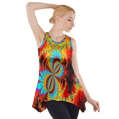 Crazy Mandelbrot Fractal Red Yellow Turquoise Side Drop Tank Tunic
