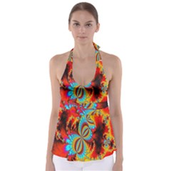 Crazy Mandelbrot Fractal Red Yellow Turquoise Babydoll Tankini Top