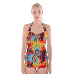 Crazy Mandelbrot Fractal Red Yellow Turquoise Boyleg Halter Swimsuit