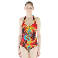 Crazy Mandelbrot Fractal Red Yellow Turquoise Halter Swimsuit