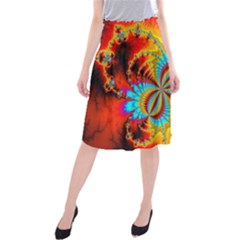Crazy Mandelbrot Fractal Red Yellow Turquoise Midi Beach Skirt